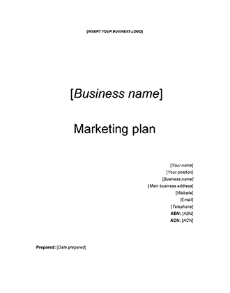 Starting Your Business - Marketing Plan Template